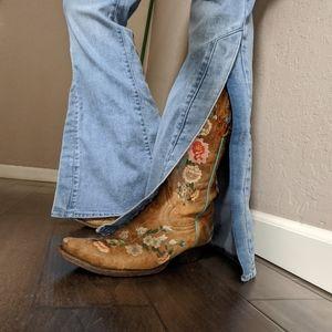 Split leg flare jeans